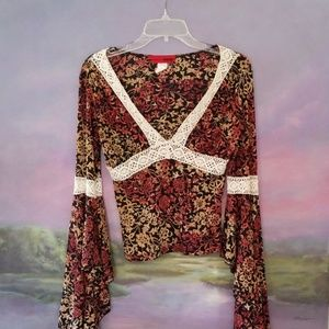 Fall Colors Bell Sleeve Blouse - Juniors Large